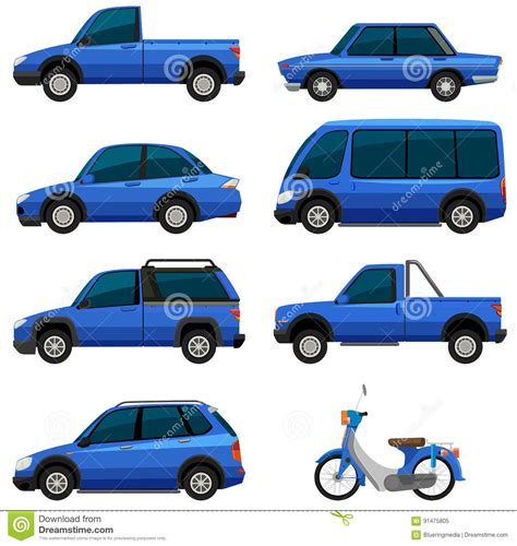 types of blue color different types of transportations in blue color stock