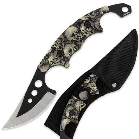 skull knives skull army slasher fixed blade knife w sheath