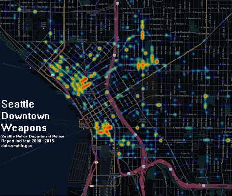 seattle heat map seattle downtown weapons and narcotics heat maps