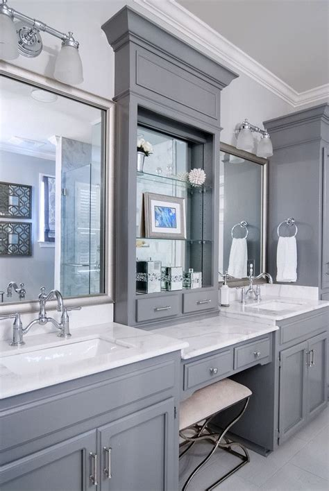 bathroom cabinets with makeup vanity grey wood bathroom makeup vanity feat white marble