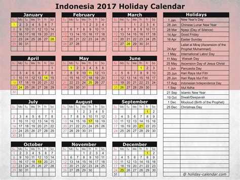 printable calendar 2017 indonesia indonesia 2017 2018 holiday calendar