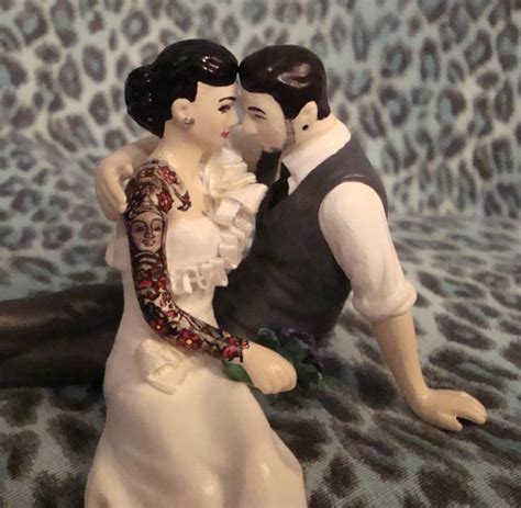 tattooed couple cake toppers custom tattooed wedding cake toppers by erin tinney
