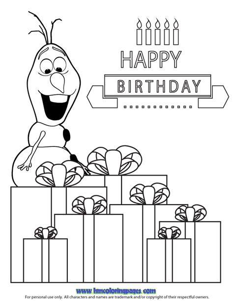 happy birthday olaf coloring page happy birthday coloring pages olaf coloring pages