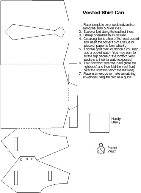 Diy Card Onesie With A Vest Card Template by Template Dress Shirt Tie Vest Card For
