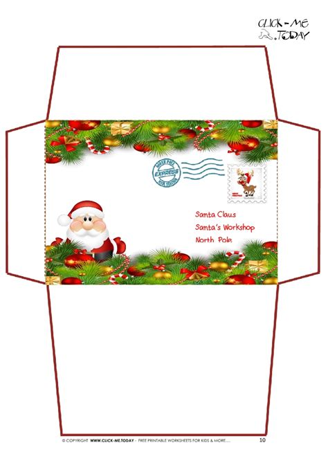 Printable Christmas Envelope Designs | printable letter to santa claus envelope template xmas
