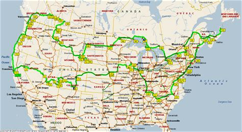 driving map of usa and canada december 2006 2006 road trip across usa canada