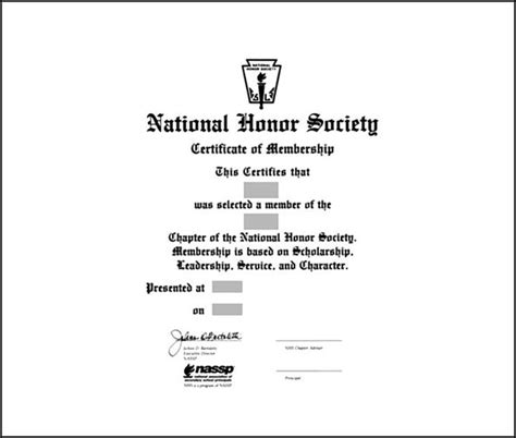 national honor society certificate template free nhs membership certificate template sle templates