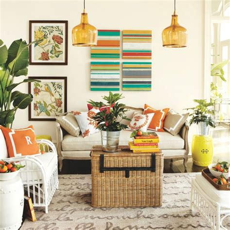 Orange Colour Combination Living Room by Orange Glass Pendant L With Wicker Furniture For