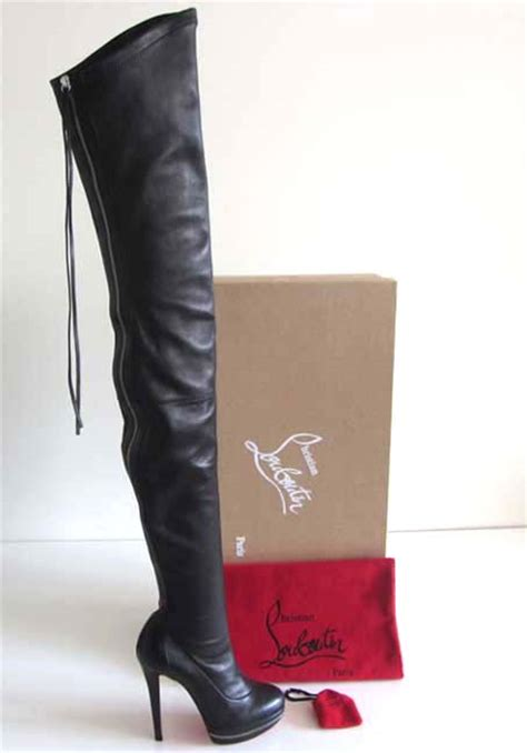 new christian louboutin thigh high platform zip boots 36 5
