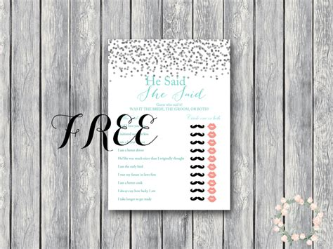 Coed Bridal Shower by Free Gray Confetti He Said She Said Coed Bridal Shower