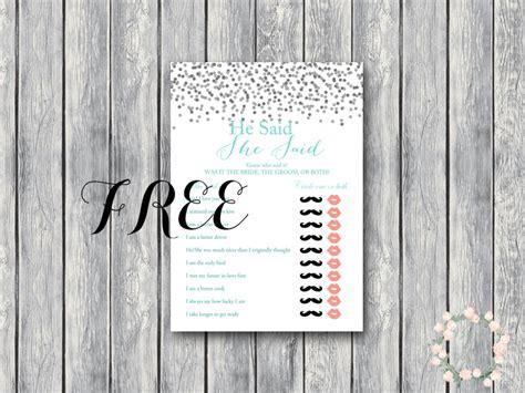 printable co ed bridal shower games free gray confetti he said she said coed bridal shower
