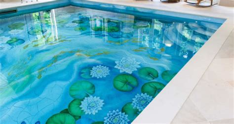 interior swimming pool water features ideas art deco indoor swimming pool gets new life with water lily ceramic