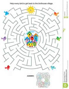Kid Activities Maze For Birds And Birdhouses Royalty Free