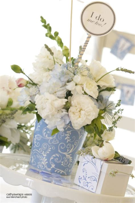 Blue Hydrangea Centerpiece Decorations For Baby And Bridal Flowers For Baby Shower Centerpieces