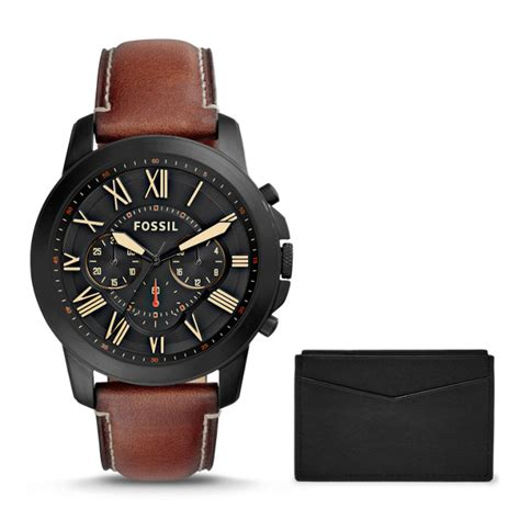 grant chronograph light brown leather and card