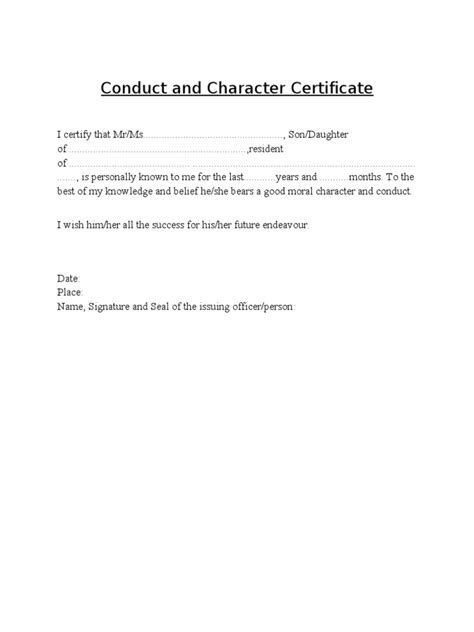 Character Certificate Letter For Conduct And Character Certificate