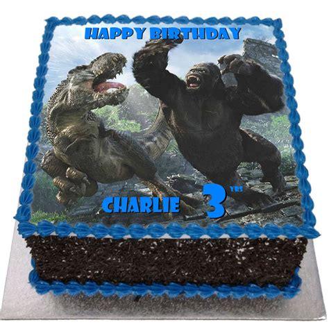 throw back king kong and godzilla cake birthday boy pinterest king kong vs t rex birthday cake flecks cakes