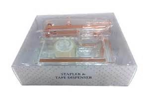 designstyles for your home acrylic desktop tape dispenser and stapler clear rose gold