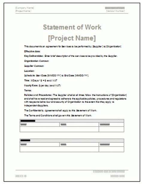 statement of work template word 5 free statement of work templates word excel pdf