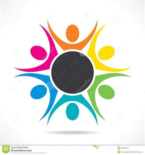 Design Concept Unity | colorful teamwork or unity design concept cartoon vector
