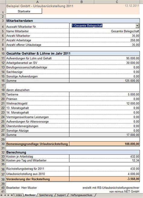 Excel 2010 F Uuml urlaubsr 252 ckstellungen bilanzierung ausstehender urlaubstage