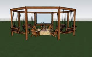 Full render of the diy pergola with firepit chairs and swings diy
