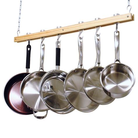 Ceiling Mounted Pot Rack With Lights Cooks Standard 36 In Single Bar Ceiling Mounted Wooden