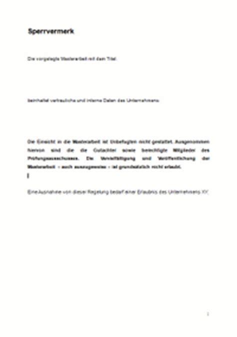 Muster Diplomarbeit Schweiz Vertraulichkeitserkl 228 Rung Sperrvermerk F 252 R Die Masterarbeit