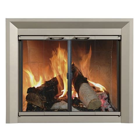 fireplace glass door nickel
