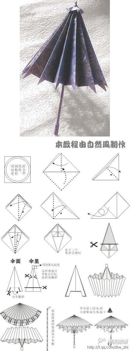 pattern for paper umbrella 小纸伞折纸图解 paper crafts free printable kids activities