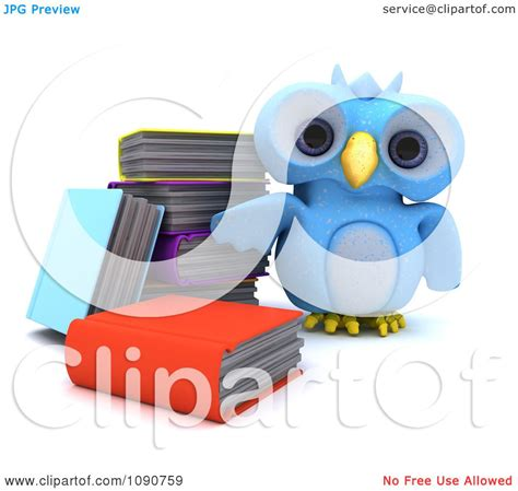 Standing Notes Owl clipart 3d blue owl standing by books royalty free cgi illustration by kj pargeter 1090759