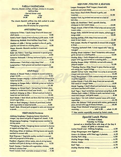 The Patio Menu by Patio Menu San Bruno Dineries