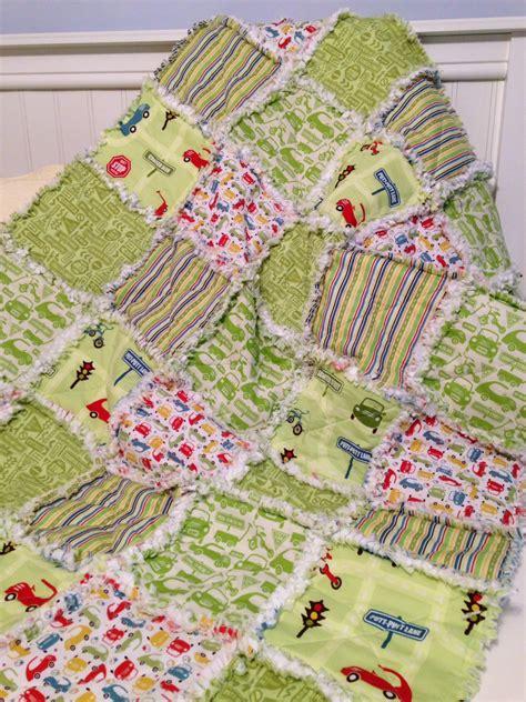 Rag Quilt Baby by Green Baby Boy Rag Quilt Crib Quilt Toddler Quilt Nursery