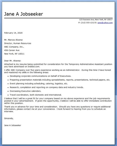 executive assistant cover letter 2014 administrative assistant cover letter temp resume