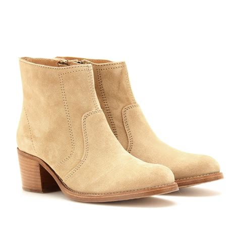 apc mens boots a p c suede ankle boots in beige biscuit lyst