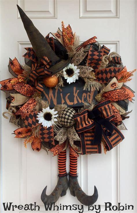 halloween burlap mesh rustic witch wreath  primitive