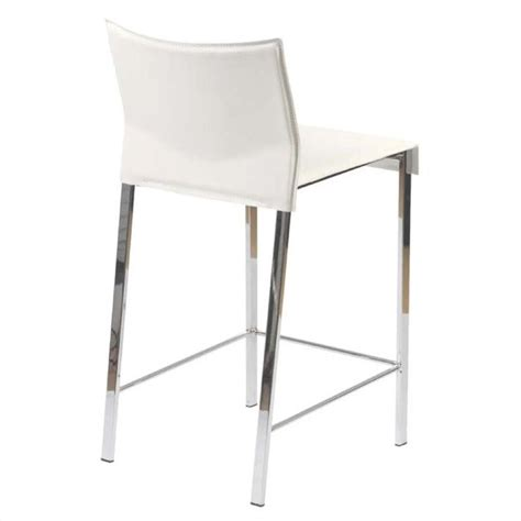 White Leather And Chrome Bar Stools by 24 Quot Counter Stool In White Leather And Chrome 17221wht