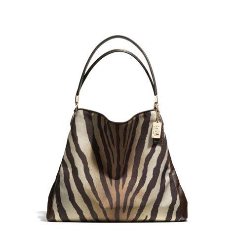 print shoulder bag coach small phoebe shoulder bag in zebra print