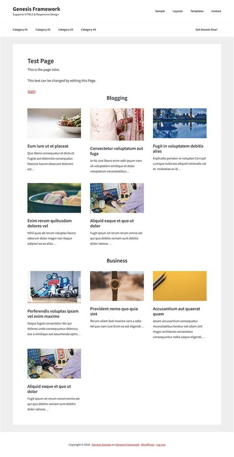 custom category template custom page template to show posts grouped by selected