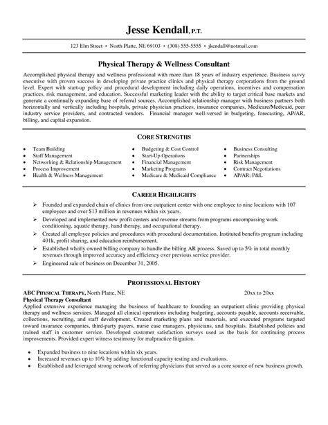 physical therapy resume exles resume ideas