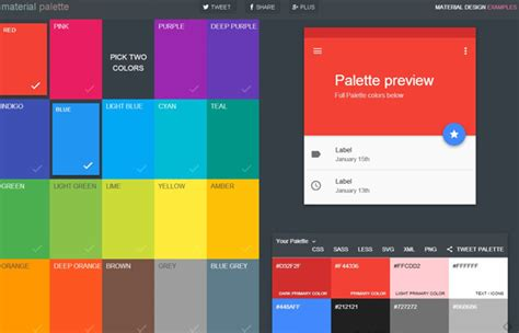 material design color schemes material palette a website for generating and exporting
