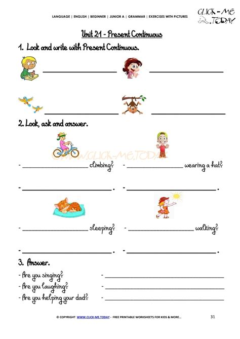 grammar exercises with pictures present continuous 3