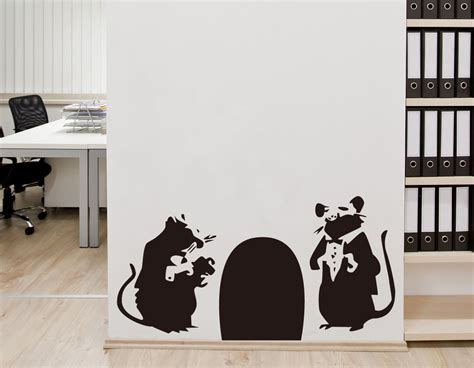 Wall Stiker Uk 60x90 Wall Sticker Sepasang Ranting Daun Hijau rat from banksy on your wall it 180 s possible