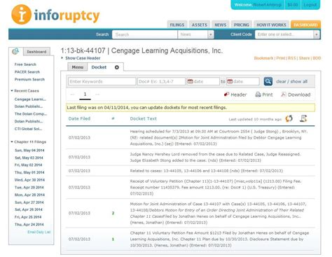 Bankruptcy Search Exclusive Bankruptcy Docket Search Site Inforuptcy To Add District Court Dockets