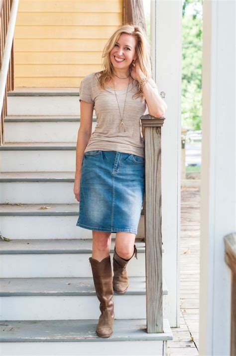 Gamis Skirt what to wear to an early fall football denim skirt