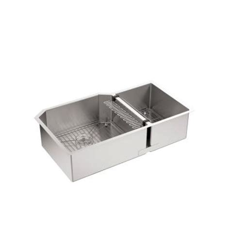 Stainless Steel Kitchen Sink Racks Kohler Strive Undermount Stainless Steel 36 In Bowl Kitchen Sink With Basin Rack K 5282