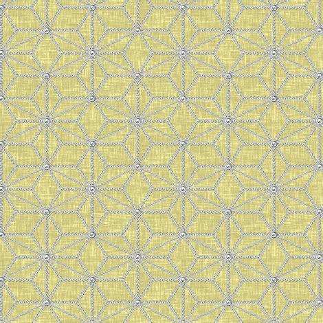 yellow leaf pattern fabric pearls in a hemp leaf pattern on beige yellow linen weave