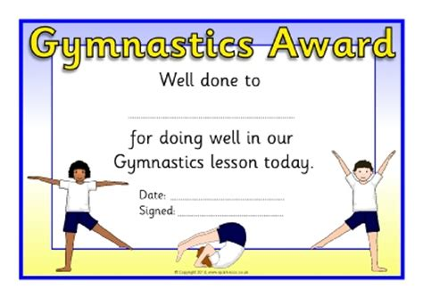 Gymnastics award certificates (SB10343)   SparkleBox