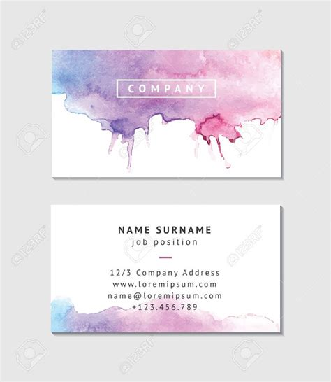 watercolor business card template free watercolor business card template
