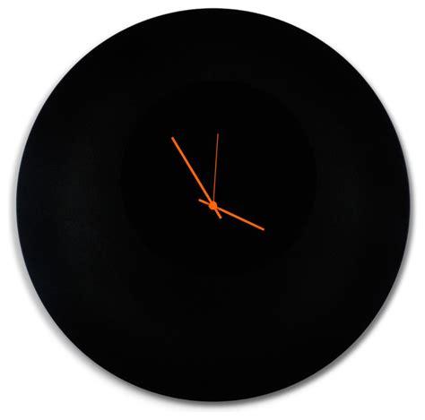 blackout circle clock large minimalist modern black metal